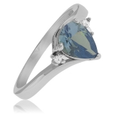 Alexandrite Pear Cut Silver Ring