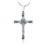 Sterling Silver Cross Aquamarine Pendant