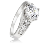 Beautiful Engagement Ring with Sterling Silver