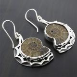 Sterling Silver Genuine Fossil (Ammonite) Earrings