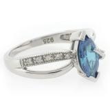Marquise Cut Blue Topaz Silver Ring