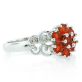 Genuine Fire Cherry Opal Silver Ring