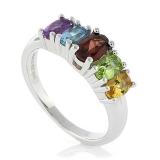 Sterling Silver Genuine Multi Gems Ring