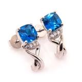Blue Topaz Silver Earrings Cushion Cut