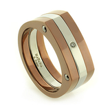 Havana Stainless Steel Diamond Accents Ring