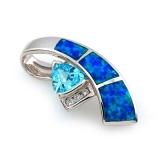 Glamorous Australian Opal Pendant with Blue Topaz