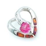 Pink Australian Opal with Pink Sapphire Heart Pendant