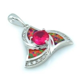 Pink Australian Opal with Pink Sapphire Pendant
