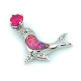 Pink Australian Opal Sea Lion Pendant