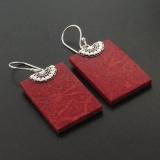 Sterling Silver Genuine Red Coral Earrings