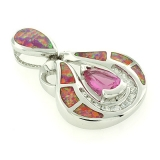 Australian Opal Pendant with Pink Sapphire
