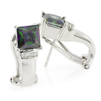 Mystic Topaz Silver Earrings with Omega Closure