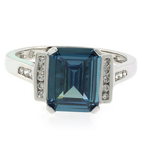 Emerald Cut Green to Blue Color Change Silver Ring