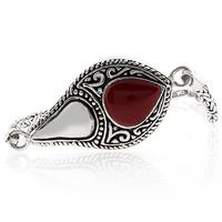 Vintage Red Coral Sterling Silver Bracelet