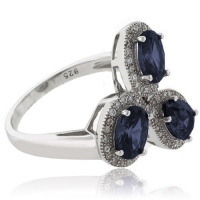 3 Color Change Alexandrite .925 Silver Ring