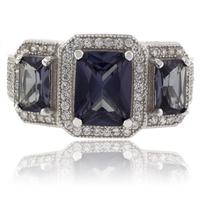 3 Emerald Cut Color Change Alexandrite Silver Ring