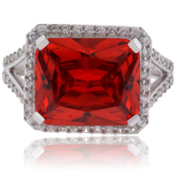 Huge Emerald Cut Fire Cherry Opal Sterling Silver Ring