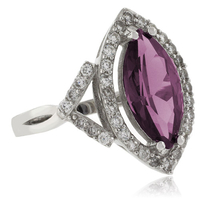 Elegant Marquise Cut Color Change Alexandrite Silver Ring