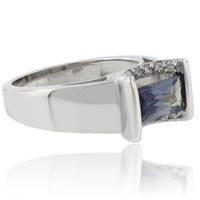 Baguette Cut Color Change Alexandrite Silver 925 Ring