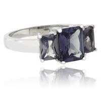 3 Emerald Cut Color Change Alexandrite .925 Silver Ring ( Blue/Purple )