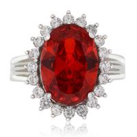Huge Oval Cut Fire Cherry Opal .925 Sterling Silver Ring