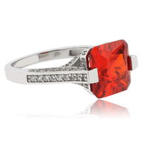 Square-Cut Fire Cherry Opal Sterling Silver Ring