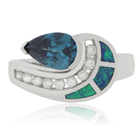 Pear Cut Color Change Alexandrite Opal Silver Ring