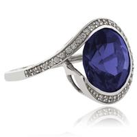 Big Round Cut Tanzanite .925 Sterling Silver Ring