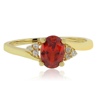 Oval Cut Fire Cherry Opal Gold Plated Silver Ring