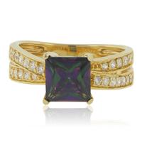 December Birthstone Mystic Topaz Gold Plated Ring