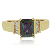 Sterling Silver Mystic Topaz Gold Plated Ring