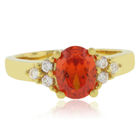 Mexican Fire Cherry Opal Gold Plated Silver Ring