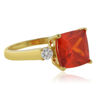 Princess Cut Fire Cherry Opal Gold Plated Silver Ring