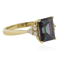 Emerald Cut Mystic Topaz Silver Gold Plated Ring