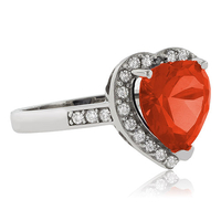 Heart Cut Fire Cherry Opal .925 Sterling Silver Ring
