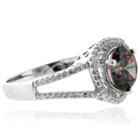 Mystic Topaz Round Cut Sterling Silver Ring