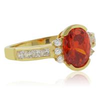 Oval Cut Channel Setting Fire Opal Ring