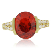Fire Opal Sterling Silver Quality Gold Plated Ring