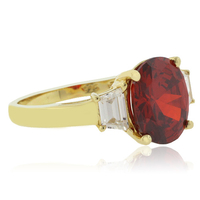 Oval Cut Mexican Fire Cherry Opal Silver Gold Plated Ring