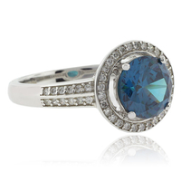 Round Cut Alexandrite Sterling Silver 925 Ring