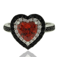 Sterling silver Ring With Heart Shape Fire Opal and Simulated Diamonds