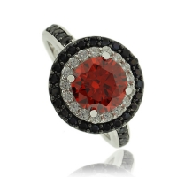 Beautiful Round Cut Fire Opal Ring With Simulated Diamonds