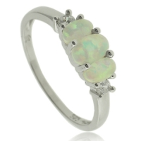 3 stone Sterling Silver With White Opal Ring and Simulated Diamonds