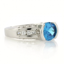 Solitaire Style Sterling Silver Blue Topaz Ring