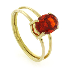 Solitaire 14k Gold Fire Cherry Opal Ring