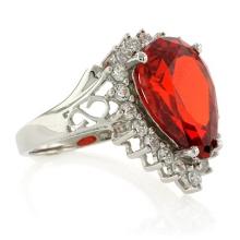 Sterling Silver Pear Cut Fire Cherry Opal Ring