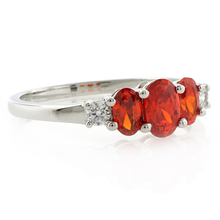 3 Stone Fire Cherry Opal Ring
