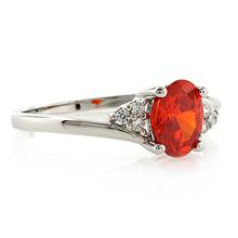 Oval Cut Fire Cherry Opal Silver Ring