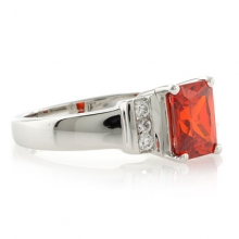 Sterling Silver Fire Cherry Opal Elegant Ring