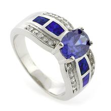 Enchanting Australian Opal Ring with Tanzanite
